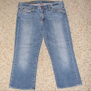 J Crew hipslung stretch stonewash crop capri jeans